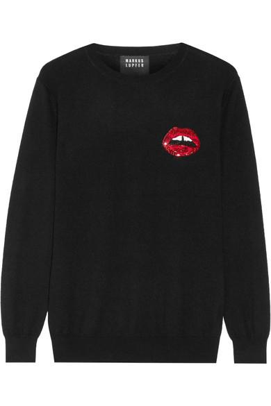 Markus Lupfer - Lara Lip Natalie Sequin-embellished Merino Wool Sweater - Black
