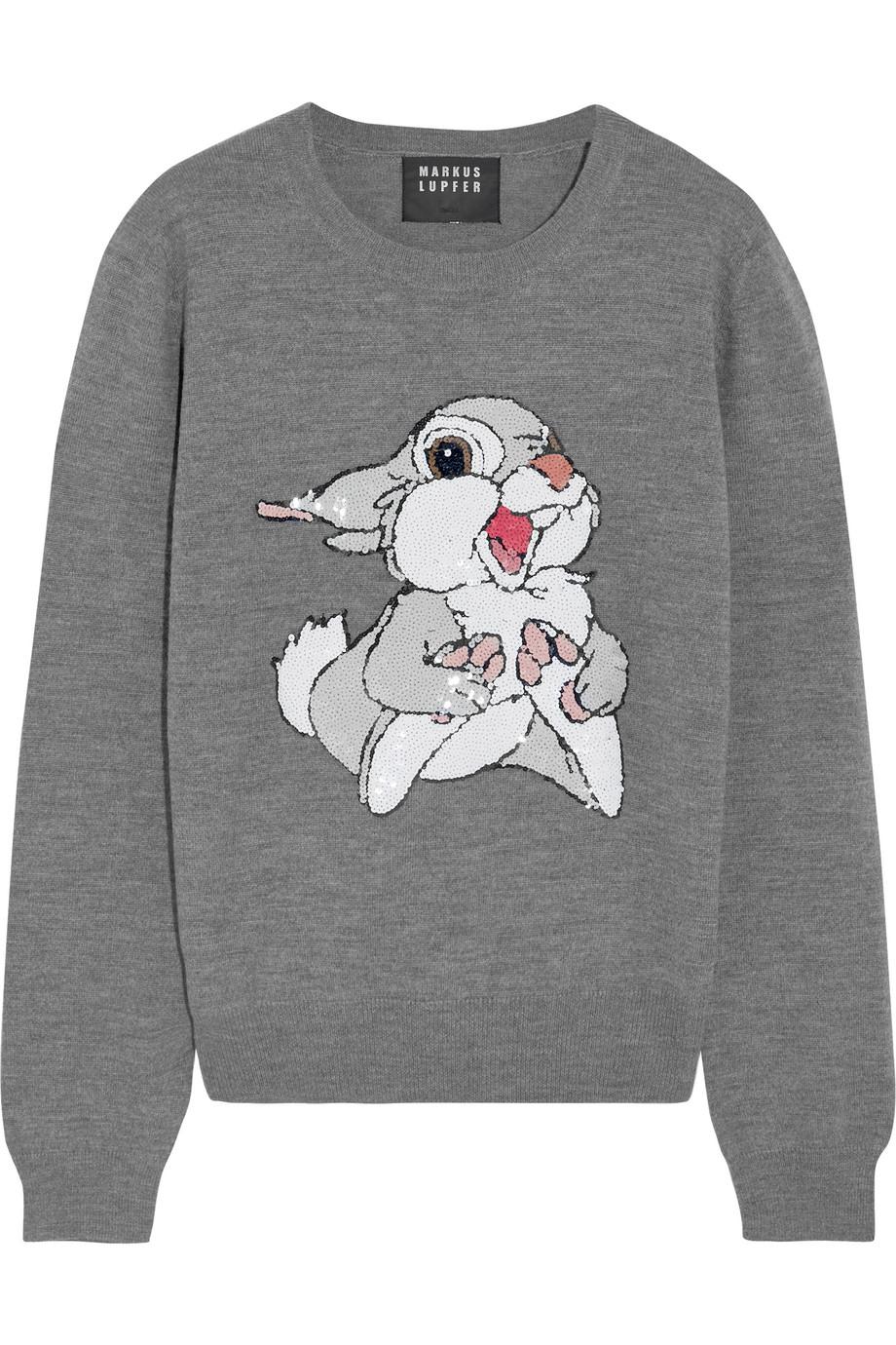 Markus Lupfer Thumper Sequin-Embellished Merino Wool Sweater, Gray, Women's