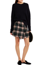 Markus Lupfer Ida plaid wool-blend wrap mini skirt