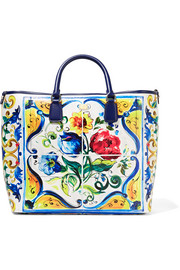 Beatrice printed textured-leather tote