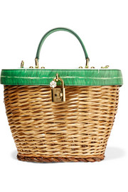 Wicker and printed textured-leather tote
