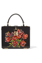 Dolce & Gabbana Leather-trimmed painted wood clutch