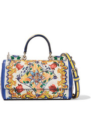 Sicily mini printed textured-leather shoulder bag