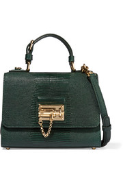 Monica small lizard-effect leather shoulder bag