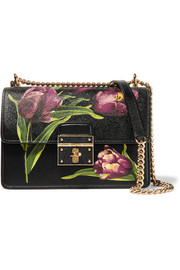 Rosalia small floral-print textured-leather shoulder bag