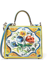 Sicily small printed textured-leather shoulder bag