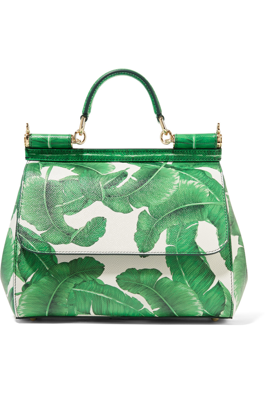 Dolce & Gabbana Sicily Medium Printed Textured-Leather Tote, Green, Women's