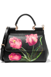 Sicily small floral-print textured-leather shoulder bag