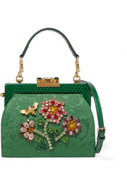 Vanda embellished jacquard and python shoulder bag