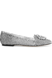 Dolce & Gabbana Embellished lace-covered mesh ballet flats