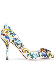 Swarovksi crystal-embellished brocade pumps