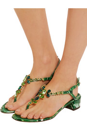 Dolce & Gabbana Embellished printed patent-leather sandals
