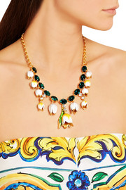 Gold-plated, Swarovski crystal and enamel necklace