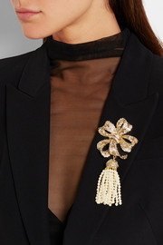 Dolce & Gabbana Gold-plated, crystal and faux pearl brooch