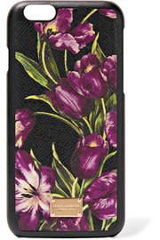 Floral-print textured-leather iPhone 6 case