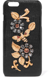 Dolce & Gabbana Crystal-embellished lizard-effect leather iPhone 6 Plus case