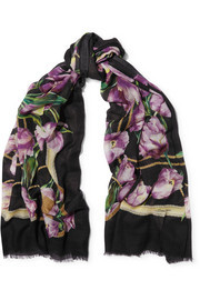 Floral-print cashmere scarf