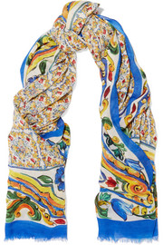 Dolce & Gabbana Printed modal and cashmere-blend scarf
