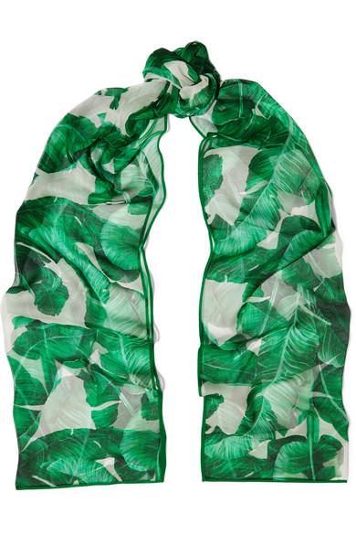 Dolce & Gabbana - Printed Silk-chiffon Scarf - Green