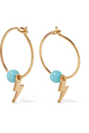 Mini Thunder gold-plated turquoise hoop earrings