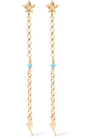Star Thunder gold-plated cubic zirconia and turquoise earrings