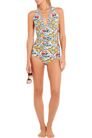 Ruched printed halterneck swimsuit