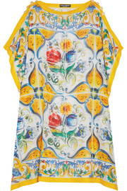 Printed cotton and silk-blend kaftan