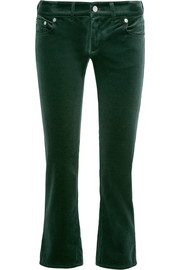 Cropped velvet slim-leg pants