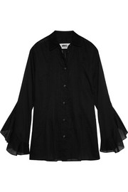 MM6 Maison Margiela Ruffled pintucked cotton-voile shirt