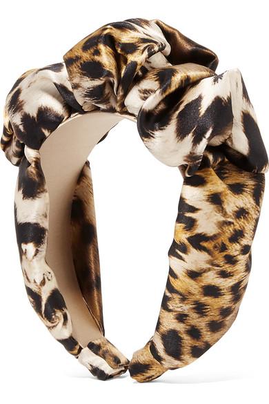 Jennifer Behr - Leopard-print Silk-satin Headband - Leopard print