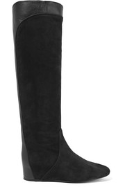 Lanvin Paneled suede and leather knee boots