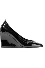 Patent-leather wedge pumps
