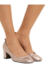 Lanvin Metallic textured-leather pumps