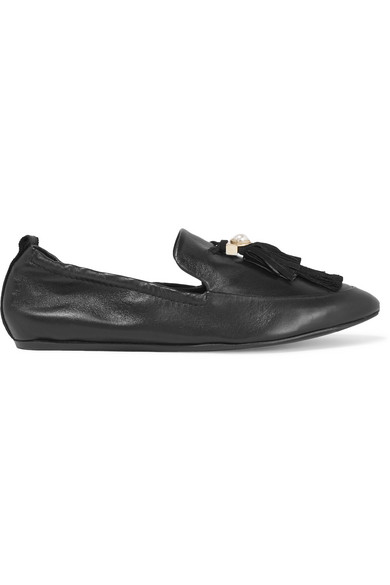 Lanvin - Faux Pearl-embellished Tasseled Leather Slippers - Black