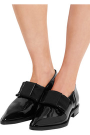 Lanvin Bow-embellished patent-leather point-toe flats