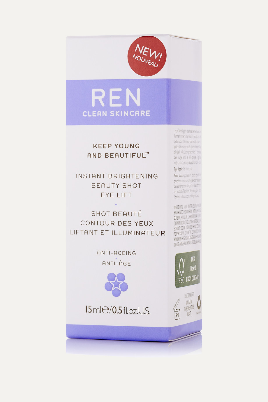 REN Clean Skincare Instant Brightening Beauty Shot Eye Lift, 15ml
