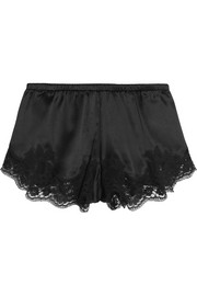 Lace-trimmed stretch silk-blend satin briefs