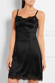 Dolce & Gabbana Lace-trimmed silk-blend satin slip
