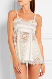 Dolce & Gabbana Lace and silk-blend satin chemise
