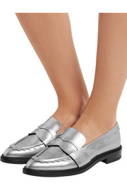Christopher Kane Scalloped metallic leather loafers