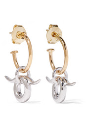 Horn gold-dipped and silver earrings