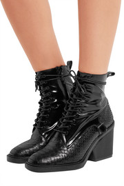 Robert Clergerie Bono snake-effect and patent-leather ankle boots