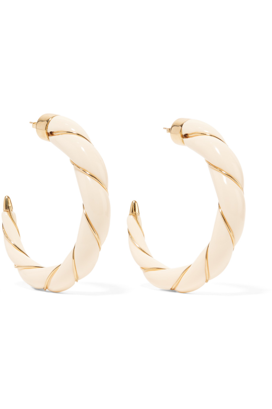 Diana Gold-Plated Resin Hoop Earrings, Aurélie Bidermann, Gold/Ivory, Women's