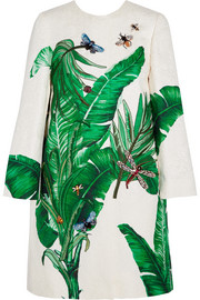 Embellished embroidered cotton and silk-blend brocade coat