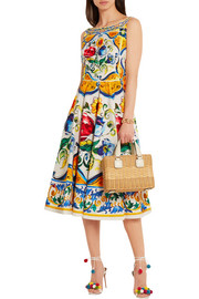 Dolce & Gabbana Printed stretch-cotton cloqué dress