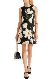 Dolce & Gabbana Floral-print wool-crepe mini dress