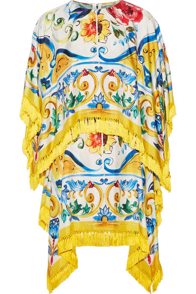 Dolce & Gabbana - Fringed Printed Stretch Silk-blend Twill Mini Dress - Yellow