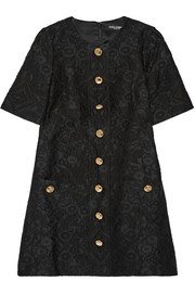 Dolce & Gabbana Button-embellished jacquard mini dress
