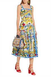 Dolce & Gabbana Pleated printed cotton-poplin midi dress