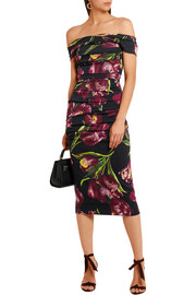 Dolce & Gabbana Off-the-shoulder floral-print stretch-silk charmeuse dress